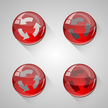 Detailed glossy arrow buttons with long shadow Illustration