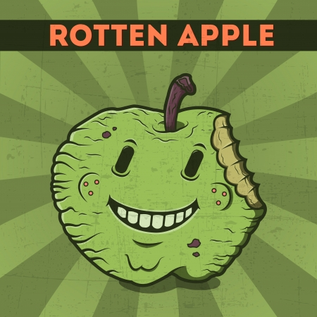 Funny, cartoon, malicious, green monster apple, on the scratchy retro background  Vector illustration  Halloween card  Rotten apple  Vector