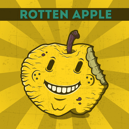 scratchy: Funny, cartoon, malicious, yellow monster apple, on the scratchy retro background  Vector illustration  Halloween card  Rotten apple