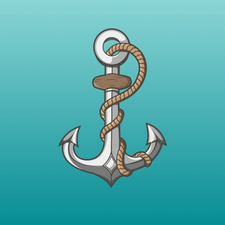 Nautical iron anchor with rope isolated on aqua background  Vector Illustration Vector