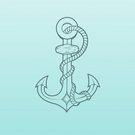 Nautical Anchor with rope isolated on green background  Green outlines  Vector Illustration