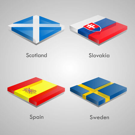 shiny buttons: Shiny web glossy bricks buttons with european country flags. Vector Illustration. Scotland, Slovakia, Spain, Sweden