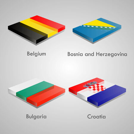 country flags: Shiny web glossy bricks buttons with european country flags. Vector Illustration. Belgium, Bosnia and Herzegovina, Bulgaria, Croatia Illustration