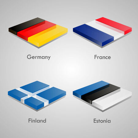 country flags: Shiny web glossy bricks buttons with european country flags. Vector Illustration. Germany, France, Finland, Estonia
