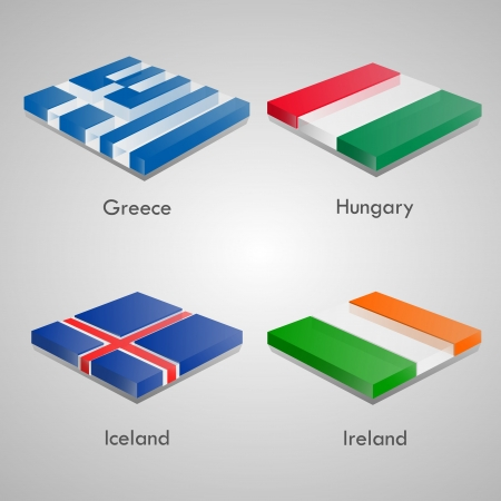 country flags: Shiny web glossy bricks buttons with european country flags. Vector Illustration. Greece, Hunguary, Iceland, Ireland