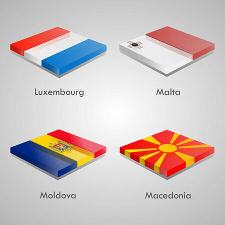 shiny buttons: Shiny web glossy bricks buttons with european country flags. Vector Illustration. Luxembourg, Malta, Moldova, Macedonia