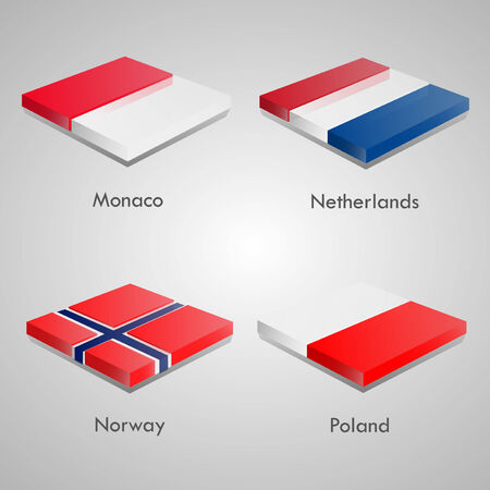 shiny buttons: Shiny web glossy bricks buttons with european country flags. Vector Illustration. Monaco, Netherlands, Norway, Poland