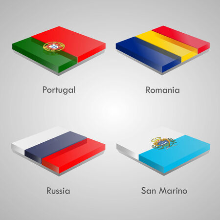 shiny buttons: Shiny web glossy bricks buttons with european country flags. Vector Illustration. Portugal, Romania, Russia, San Marino Illustration
