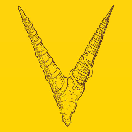 horny: Abstract cyber steam-punk horns, V-letter isolated on yellow background  Brown outlines  Vector illustration