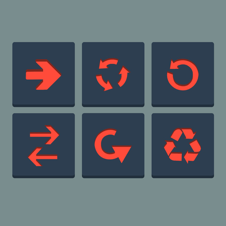 orientation marker: Simple red stamp flat arrow icons set  Web elements  Vector Illustration