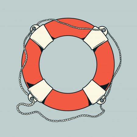 Detailed outlines, colored nautical life buoy isolated on grey background  Ship element  Vector illustration  Vector