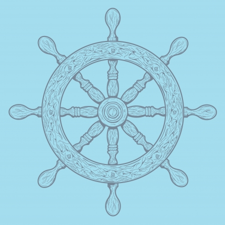Detailed grey outlines nautical rudder isolated on blue background  Ship element  Vector illustration