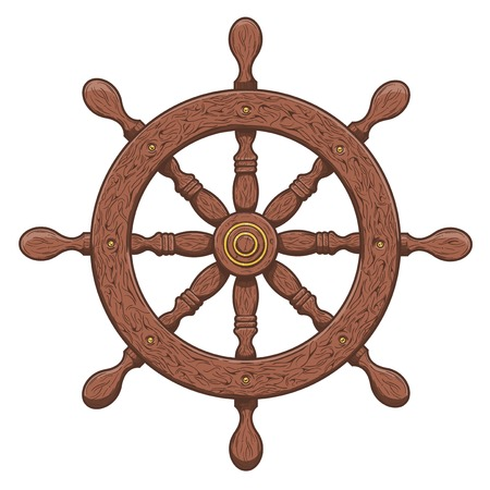 Detailed brown outlines nautical rudder isolated on white Ship element  Vector illustration