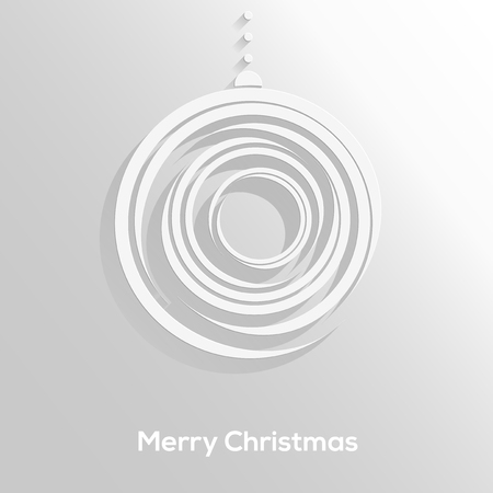 Abstract paper cut christmas ball with long shadow isolated on neutral background