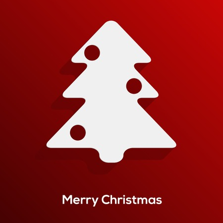 Abstract paper cut christmas tree with long shadow isolated on red background   Vector