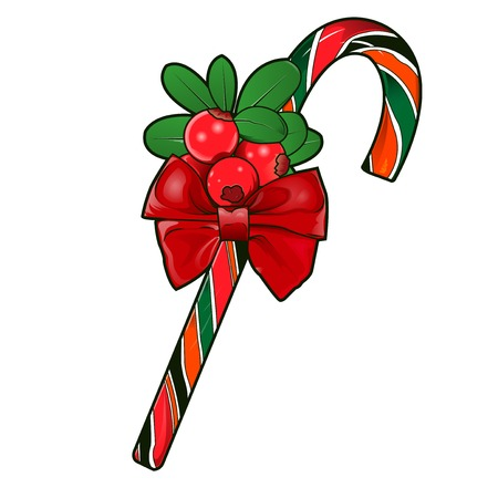Christmas cane with red berries isolated on white  Vector Illustration Illustration
