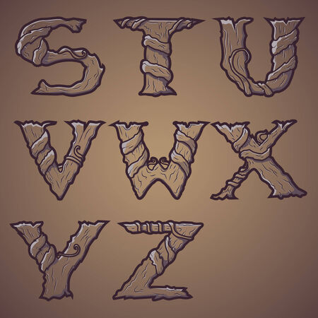 Halloween decorative alphabet - Tree   roots letters, font  Vector Illustration