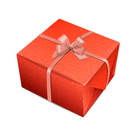 Detailed decorative red giftbox with beige bow-knot  Vector