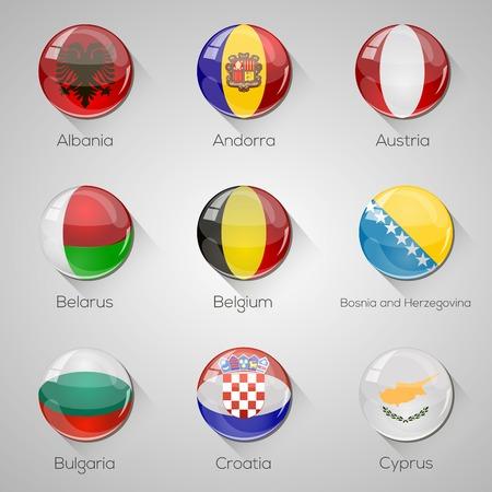 glossy buttons: Bandiere europee definiscono lucidi pulsanti con le ombre lunghe