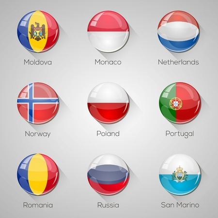 European flags set glossy buttons with long shadows   Vector
