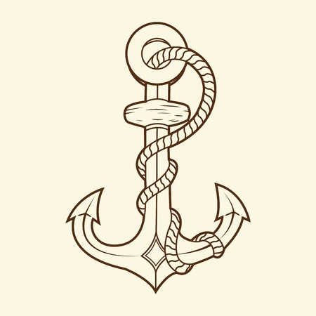 Nautical anchor with rope isolated on beige background  Brown outlines  Vector Illustration Illustration