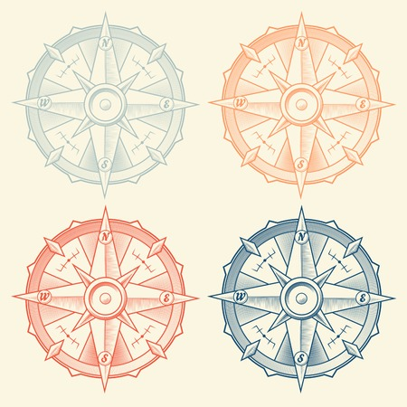 dial compass: Set of vintage graphic compasses isolated on light background  Vector Illustration