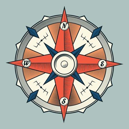 rosa de los vientos: Compás gráfico colorido de la vendimia aislada sobre fondo claro Ilustración vectorial