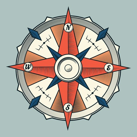 Vintage colourful graphic compass isolated on light background  Vector Illustration