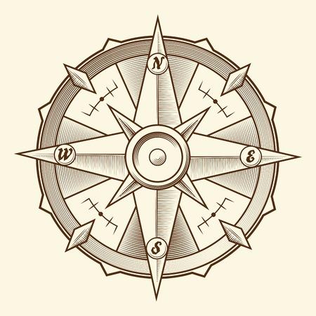 compas de dibujo: Comp�s gr�fico de la vendimia aislada sobre fondo claro Ilustraci�n vectorial