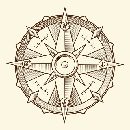 compass rose: Vintage graphic compass isolated on light background  Vector Illustration