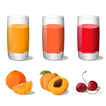Set of juices in glass  orange, peach, cherry  isolated on white background  Vector Illustration  All fruits are in groups and easy to use  Illustration
