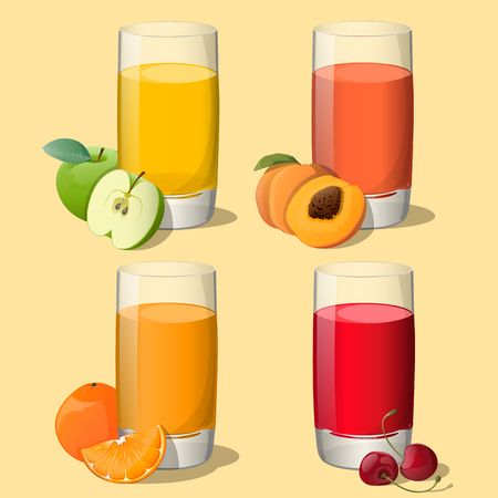 Set of juices in glass  apple ,orange, peach, cherry  isolated on beige background  Vector Illustration  All objects are in groups and easy to use  Vector