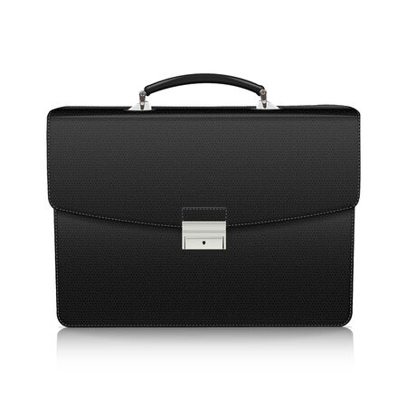 attache: Detailed black briefcase with leather texture isolated on white background  Vector Illustration