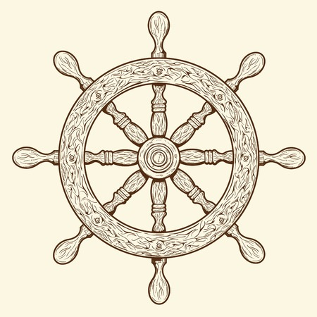 Detailed brown outlines nautical rudder isolated on beige background  Ship element  Vector illustration
