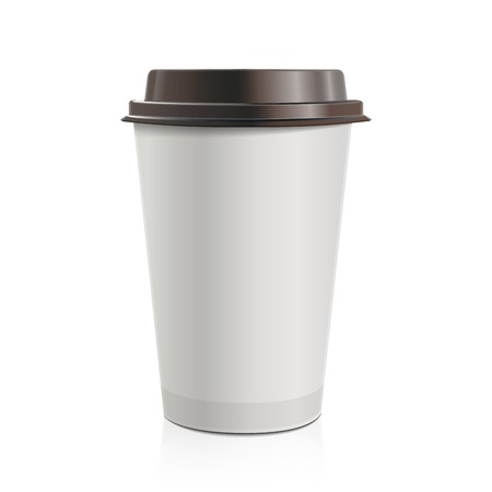 takeout: Close up take-out coffee with brown cap