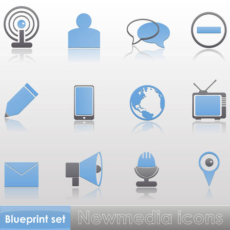 Simple blue-grey new media icons with reflection isolated on neutral background Vector