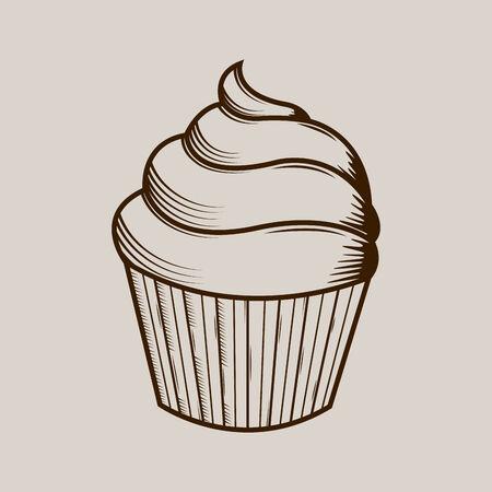 Graphic cream cake isolated on light background