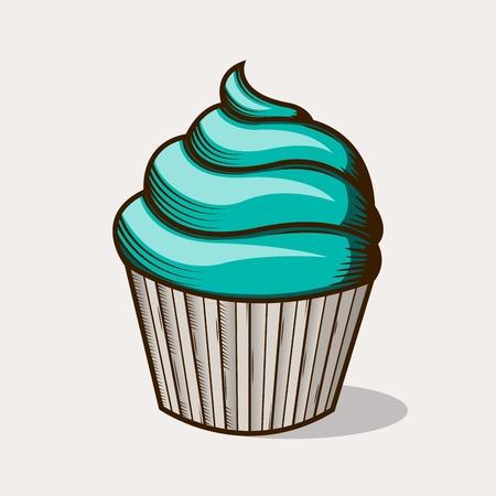 torta panna: Graphic torta alla crema verde Vettoriali