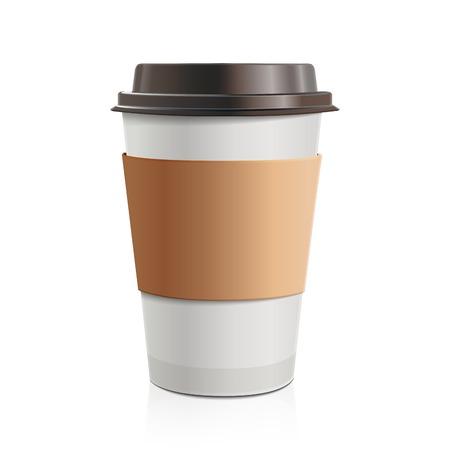 흰색 배경에 고립 된 갈색 모자와 컵 홀더 테이크 아웃 커피를 닫습니다 일러스트