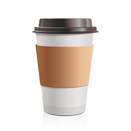 disposable: Close up take-out coffee with brown cap and cup holder Isolated on white background