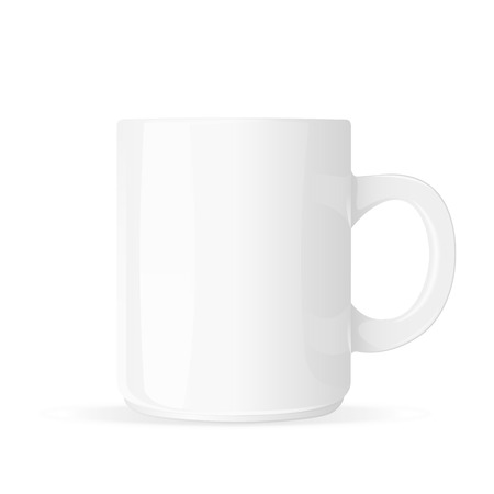 White mug blank isolated on white background  Vector illustration
