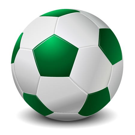 worldcup: Detailed green fringe football ball isolated on white background  Vector illustration