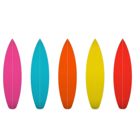 Set of colorful blank surfboards  Vector illustration