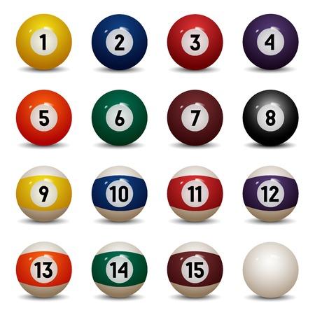 Geïsoleerde gekleurde pool ballen nummers 1 tot 15 en nul bal Vector Illustratie Vector Illustratie