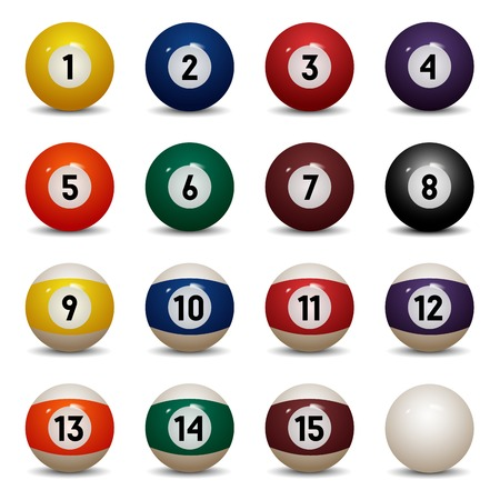 Isolated colored pool balls  Numbers 1 to 15 and zero ball  Vector Illustration