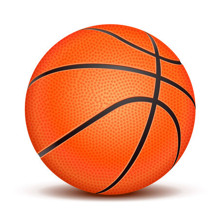 Realistic basketball ball isolated on white background  Vector illustration