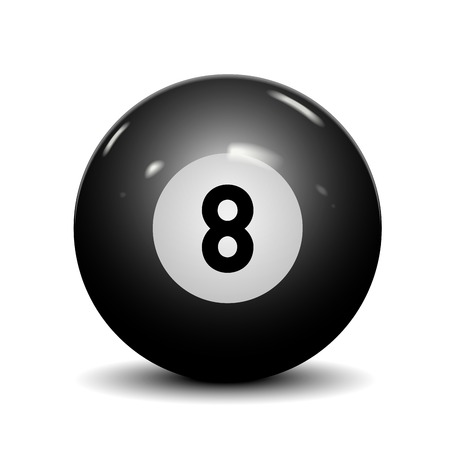 Billiard eight ball isolated on white background  Vector illustration