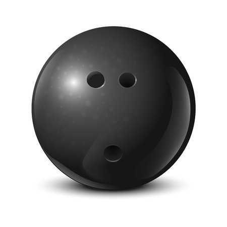 Bowling ball with texture isolated on white background  Vector illustration Vector