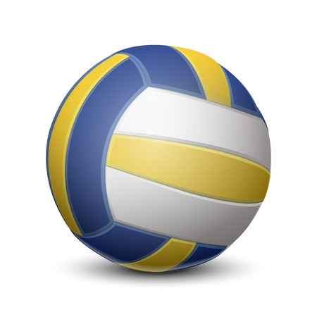 Blue and yellow volleyball ball isolated on white background  Vector illustration