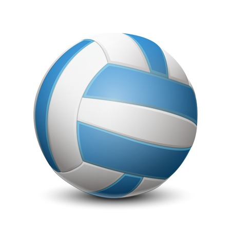 Blue volleyball ball isolated on white background  Vector illustration
